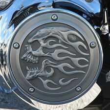 Flaming skull derby cover in aged aluminum. Harley Twin Cam models DCFSA-1
