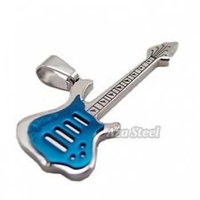 """Silver Blue Music Guitar Stainless Steel Pendant with 21"""" Chain Necklace"""