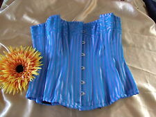 Blue/lavender boned lace-up back hook & eye front striped 100% cotton corset