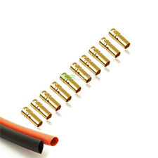 10 Female RC 3.5mm Gold Bullet Connectors INC Heat Shrink For Motor ESC UK