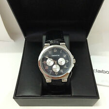 NEW! LIZ CLAIBORNE MEN'S BLACK LEATHER STRAP MULTIFUNCTION WATCH CLM1011 SALE