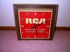 RCA CLOCK TV Radio Tubes w Light Vintage Repair Shop Antique Hanging Wall Sign