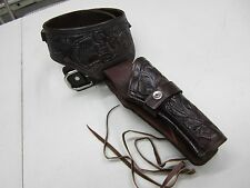 "WESTERN GUN HOLSTER  CAL.22 SIZE 30""  BROWN TOOLED LEATHER COWBOY HOLSTER RIG"