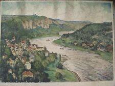 12732 Hugo Eichler WEHLEN STADT Sächs. Schweiz orig kolorierte Radierung sig