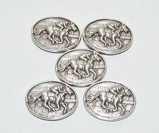 Lot of 5 New Enmon Horse Racing Metal Concho Leather Western Screw Back Silver