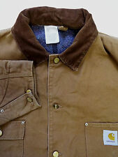 "CARHARTT CANVAS OVERSIZED LINED JACKET CORDUROY COLLAR 56"" TAN LJKTA095"