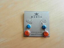 Barse  Sterling Silver Turquoise and Orange Sponge Coral Earrings MSRP $68