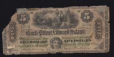 1877 Bank of Prince Edward Island $5 - Canada Currency Overprint