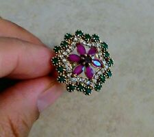 NATURAL EMERALD RUBY TOPAZ 925 STERLING SILVER TURKISH RING SIZE 9.5 HANDMADE