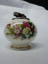 Vintage Table Top Cigarette Lighter Bone China with Rose Flowers in Gold SPARK