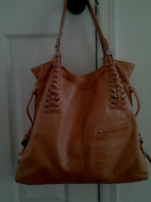 B.Makowsky women's embossed leather tote handbag Orange large