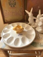 Olfaire Portuguese Handcrafted Pottery Easter Deviled Egg Bunny Display Plate