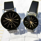 New Women Men Leather Band Stainless Steel Watches Analog Quartz Wrist Watches