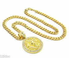 "Mens Gold Plated Lion Face Clear Eyes Iced Out Pendant 30"" Necklace Cuban Chain"