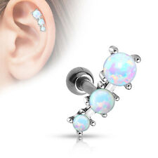 Triple OPAL Ball CARTILAGE Tragus EAR Bar Barbell Earring Rings Piercing Jewelry