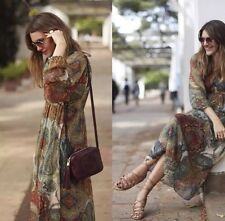 Last_XS Retail$169 NWT ZARA LONG MAXI FLOWING PRINTED DRESS WITH ORIENTAL SLEEVE