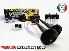New Air Horn Loud Truck Car Trumpet Train Horns Kit Compressor Extra Loud Black
