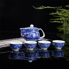 Exquisite 5 PCS Blue-And-White Dragon Design Ceramic Tea Pot Tea Cups Set In ...