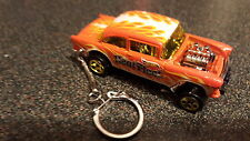 Diecast Chevy Chevrolet Bel Air Gasser Orange Heat Toy Car Keyring Keychain