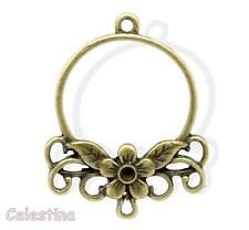 2 Antique Bronze Earrings Connectors Links Chandelier Loop Flower 34mm x 27mm