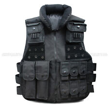 SWAT Velcro Tactical Vest Black For Camo Military Police Hunting Combat Carrier