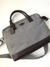 Fossil Men's Grey Canvas Brown Leather Wyatt Work Bag Brief Briefcase MBG9273020