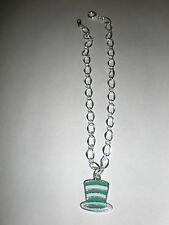 Green and white striped top hat charm ankle bracelet