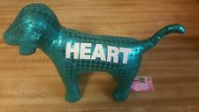 Victoria Secret PINK Metallic TEAL BLUE Plush DOG 2009 HEART Limited Edition R