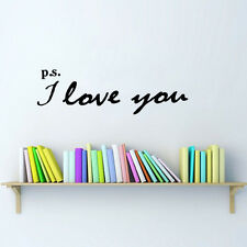 P.S. I Love You Wall Art Sticker Home Decal Inspirational Love Quotes Decor