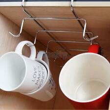 Under Shelf Mug Cup Rack Metal Chrome Storage Holder for Kitchen Pantry