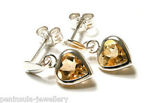 Sterling Silver Citrine Heart Drop Earrings Gift Boxed Made in UK
