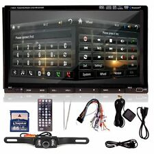 "7"" HD Double 2 DIN Stereo Car GPS Nav DVD Player Bluetooth Radio Headunit+Camera"