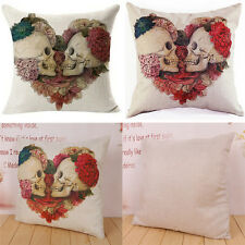 Linen Cotton Vintage Skull Throw Pillow Case Bed Sofa Home Decor Cushions Covers