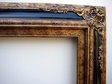 Picture Frame Antiqued Gold With Black Accent Bar Fits 24 X 36 Oil Painting