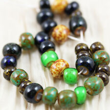 LIMITED!!! 32/0 AGED GREEN JASPER MIX /  PICASSO CZECH SEED BEADS - 6""