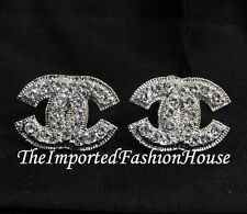 AUTHENTIC CHANEL CLASSIC LARGE CRYSTAL CC LOGO SILVER CLIP ON EARRINGS NEW