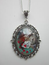 Alice in wonderland glass cabochon pendant charm necklace oval antique silver .