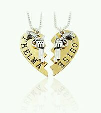 Thelma and Louise Pistol Gun Heart BFF Best Friend Necklaces Partners In Crime