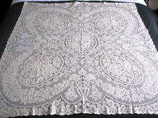 "ANTIQUE CREAM ALENCON LACE TABLECLOTH 42"" France"