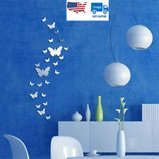 Home Decor DIY 3D Mirror Wall Stickers Sticker 30pcs Butterfly Silver Acrylic