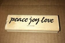 Stampin Up Peace Joy Love 1995 Wood Mounted Rubber Stamp Holiday Card Making