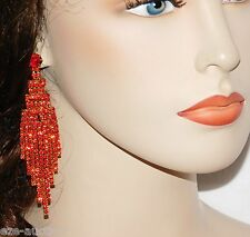 "STUNNING GOLD WITH RED RUBY BRIDAL RHINESTONE 4"" LONG CHANDELIER EARRINGS"