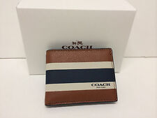 NEW COACH SLIM BILLFOLD ID WALLET  VARSITY SPORT CALF LEATHER NAVY F75138 $125