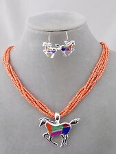 Orange Seed Bead With Silver Multi Color Horse Necklace Set Fashion Jewelry NEW