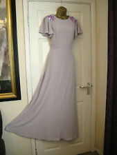 10 ASOS WEDDING LILAC EMBELLISH CHIFFON MAXI DRESS WEDDING 20'S 30S PROM VINTAGE