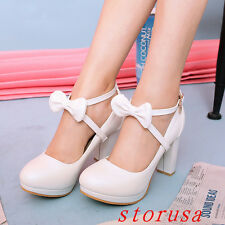 Women High Block Heel Mary Jane Shoes Ankle Strappy Bowknot Platform Sandals New