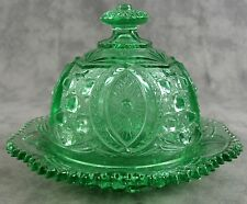 GREEN GLASS LARGE ROUND DOMED BUTTER DISH ~ MEMPHIS DEPRESSION STYLE ~