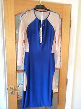 BNWT ROC y Muñeca emperatriz sobre Vestido Midi Talla Cobalto Azul/Desnudo RRP £ 115
