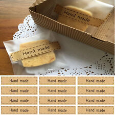 80 Rectangular Paper Labels 'Hand made' Gift Food Cookie Kraft Craft Stickers