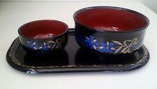 Rare Japanese Plastic 3 piece tray&bowl set-Blue Floral -Sushi Rice Noodles Soup